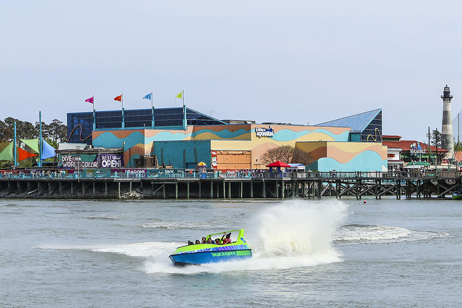 A jet boat ride carries passengers for a thrill ride at Broadway at the Beach entertainment complex