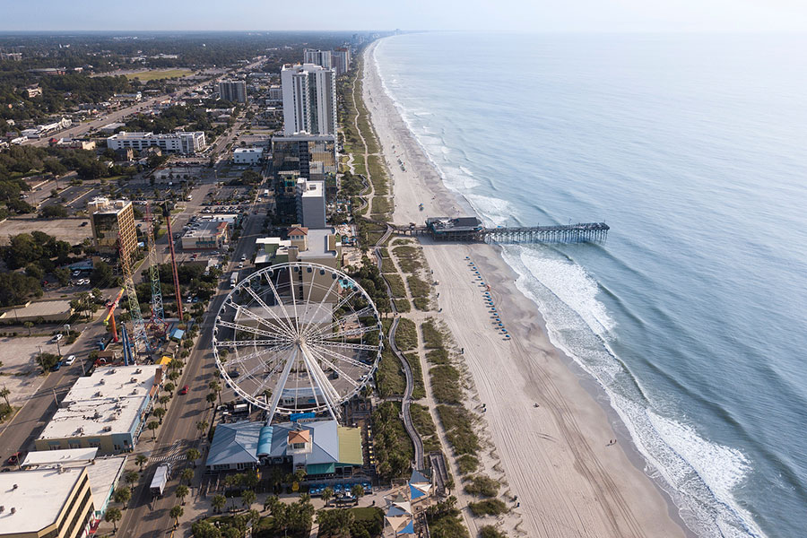 Aerial view of Myrtle Beach boardwalk and shoreline